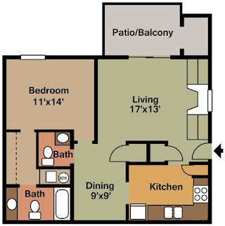 Castleton Manor Floor Plan 1 Bed 1.5 Bath 800 SqFt