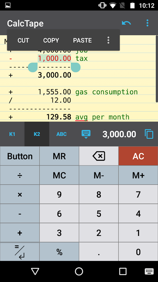 CalcTape Calculator with Tape Screenshot 1