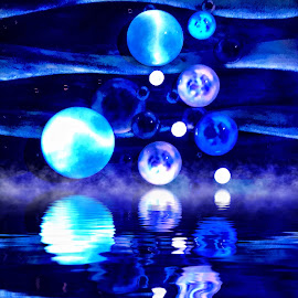 Circles In Blue Reflections  by Lorna Littrell - Abstract Patterns ( blue, reflection, circles, abstract, fog )