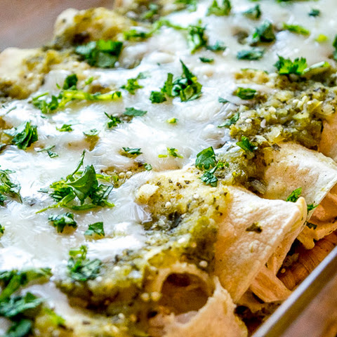 Enchiladas Suizas -- Chicken Enchiladas with Creamy Green Sauce