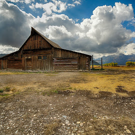 Tetons Barn by Nancy Merolle - Buildings & Architecture Decaying & Abandoned ( old, barn, wyoming, architecture, tetons, abandoned )