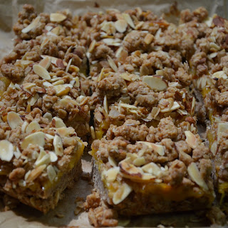 Peach + Almond Crumble Bars