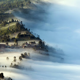 Goooood morning... Cemoro Lawang Village at Bromo-Tengger-Semeru Nationqal Park, East Java, Indonesia by Wan Redzuan - Landscapes Mountains & Hills ( national park, foggy, village, tengger, indonesia, east java, cemoro lawang, semeru, bromo, morning, misty )