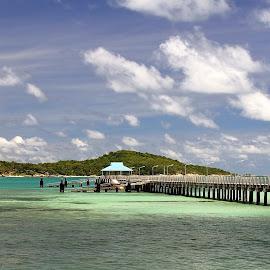The bridge on the beach by Daniel Cojocaru - Landscapes Travel ( water, sky, nature, blue, sea, ocean, bridge, beach, paradise, landscape, coast, island )