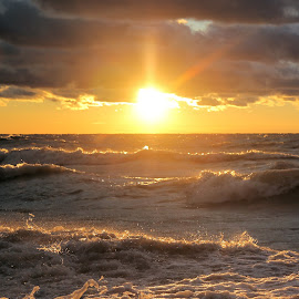 Wind Blew The Sun Down 2 by Terry Saxby - Landscapes Sunsets & Sunrises ( water, canada, terry, huron, sunset, goderich, ontario, lake, saxby, nancy )