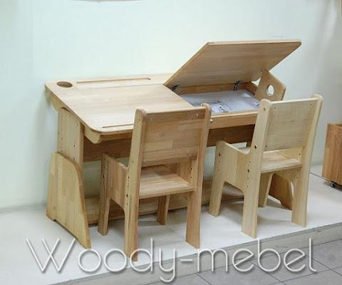 Детская мебель: парта двойная с пеналами и стульями