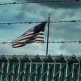Voices of Americans by Carrie Cadenas - City,  Street & Park  Skylines ( flag barbed wire fence )