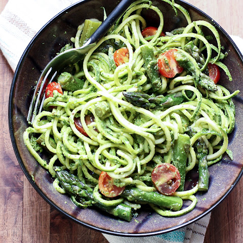 Sauteed Asparagus with Zucchini Noodles & Spinach Pesto