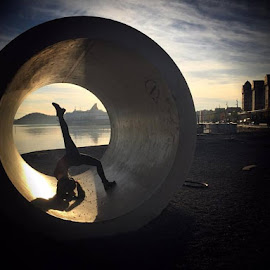 Lines by Andrea Nilsen - City,  Street & Park  City Parks ( tube, sunset, oslo, lines, dance, yoga, geometrical, dancer, norway )
