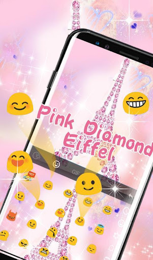 Pink Diamond Eiffel Keyboard Theme screenshot 4