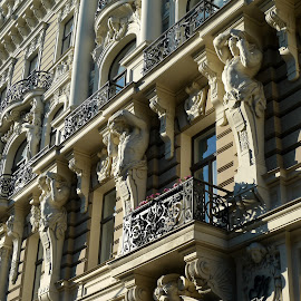 supporting by Natalie Spark - Buildings & Architecture Architectural Detail ( interior, statues, white, house, latvia, historic )