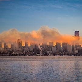 Sunrise on City by Brad Larsen - City,  Street & Park  Skylines ( clouds, water, cityscapes, sunrise, landscape )