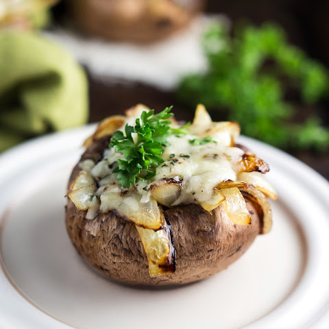 Caramelized Onion and Spinach Stuffed Mushrooms