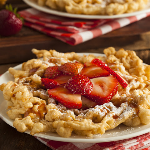 Funnel Cake with Fresh Strawberries