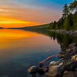Wallowa Lake by Andy Vic Lindblom - Landscapes Waterscapes ( water, oregon, reflection, nature, pnw, sunset, wallowa lake, lake, pacific northwest )