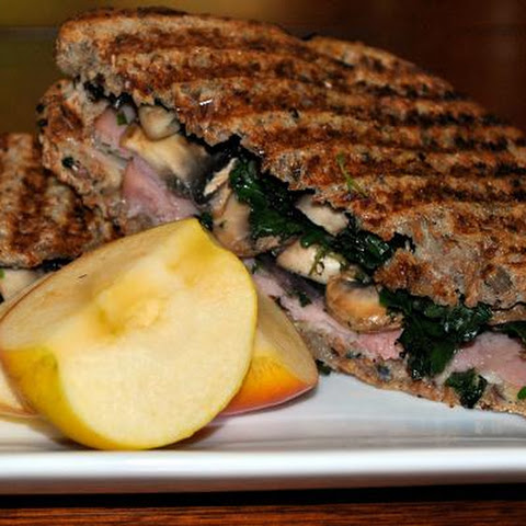 Ham and Swiss Panini With Mushrooms and Kale