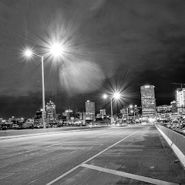 Milwaukee Skyline from the Hoan Bridge by Jason Lockhart - City,  Street & Park  Skylines ( milwaukee, i-794, wisconsin, skyline, black and white, hoan bridge )