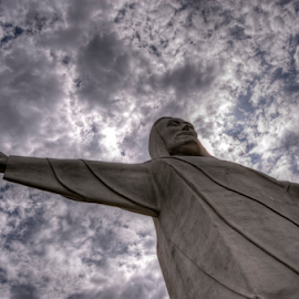 Behold! by Darin Williams - Buildings & Architecture Statues & Monuments ( statue, christ, ozark, angry, cloud, religious )
