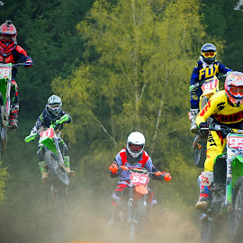 Here They Are! by Marco Bertamé - Sports & Fitness Motorsports ( bike, motocross, dust, clumps, motorcycle, race, competition, jump )