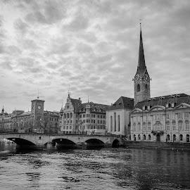 Zurich || Svizzera by Stan Petru - City,  Street & Park  Street Scenes ( svizzera, zurich, black & white )