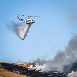 CDF Drop by Mark Franks - Transportation Helicopters ( grass fire, ca, cdf, fire, smoke, water drop )