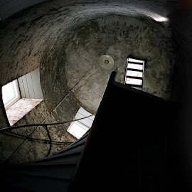 Up the staricase by Skye Stevens - Buildings & Architecture Other Interior ( building, staircase, lighthouse, stone )
