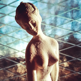 Lady by Frode Ysterud - Artistic Objects Antiques ( nude, art, people, portrait, plasterstatue, statue, figure, woman, feeling, breasts, glass, lady, light, classic )