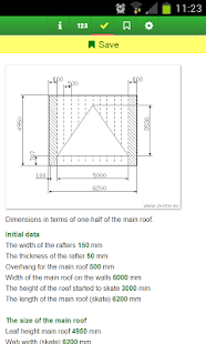 Calculation of the gable roof - screenshot