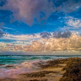 waves and sand by Cristobal Garciaferro Rubio - Landscapes Weather ( clouds, water, shore, cozumel, sea, morning, rocks )
