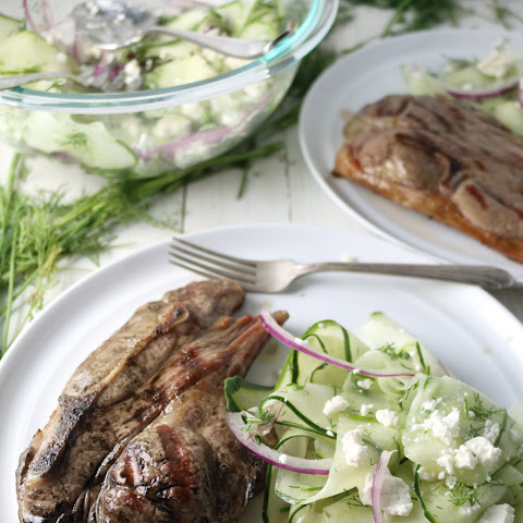 Grilled Lamb Chops with Cucumber-Feta Salad