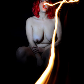Burning Red by DJ Cockburn - Nudes & Boudoir Artistic Nude ( speedlight, model, art nude, seated, home shoot, miss v, fire, flame, sitting, red hair, off camera flash, naked, woman, motion )