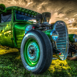 Green Machine by Chris Cavallo - Transportation Automobiles ( old car, maine, green, car show, hot rod, antique, golden hour,  )