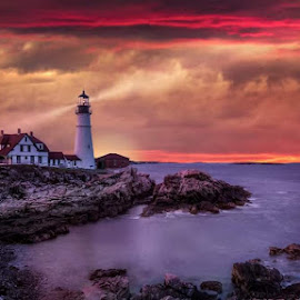 Portland  headlight  by Kathy Val - Landscapes Sunsets & Sunrises ( sunset, lighthouse, ocean )