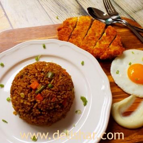 Japanese Curry Fried Rice with Chicken Katsu