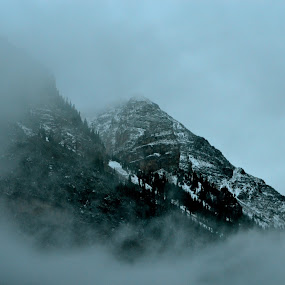 Window to the Rockies by Seamus Crowley - Landscapes Weather ( mountains, fog, snow, rockies, storm, aspen )