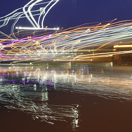 Reflections by Ilan Abiri - Abstract Light Painting ( abstract, light painting, colors, reflections, lake, lines )