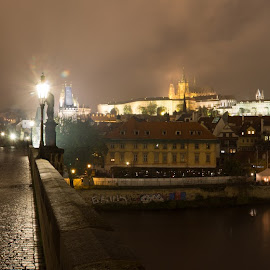 Charles Bridge & Vltava by Mathijs Vos - City,  Street & Park  Night ( vltava, night, prague, charles bridge, city )