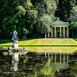 Studley Royal water gardens by Mandy Hedley - Landscapes Travel ( water, folly, royal, studley, reflections, gardens )