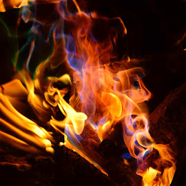 Look Deep for Images by Mike DeLong - Abstract Fire & Fireworks ( orange, flames, red, blue, campfire )