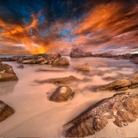 On Sunset by Greg Tennant - Landscapes Sunsets & Sunrises ( waterscape, sunset, rocks, coast )