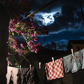 clothes on the wire (night) by Mario Spiz - Artistic Objects Clothing & Accessories ( on the wire, night photography, clothes, stari grad, night, paiz )