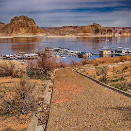 Path to the Water by Richard Michael Lingo - City,  Street & Park  Vistas ( water, vistas, lake powell, harbor, parks )