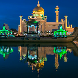 Sultan Omar Ali Saifuddin Mosque : Brunei by Laxminarayan Channa - City,  Street & Park  Night (  )