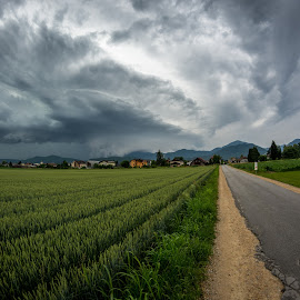 Awesome supercell by Matic Cankar - Landscapes Cloud Formations ( storm, green, field, road, chasing, hills, clouds, thunder, landscape )