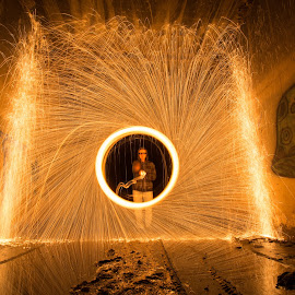 Mushroom by Givanni Mikel - Abstract Light Painting ( steel wool, steel, wool, fire, tunnel )