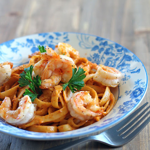 Crab Fat Fettuccine with Grilled Shrimp (Aligue Pasta)