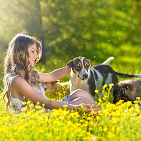 Happy and attractive teen girl playing with dogs in green field by Iancu Cristi - People Fine Art ( countryside, lawn, freedom, trusting, people, together, kid, woman, lifestyle, weekend, friendship, childhood, cheerful, smiling, leisure, fun, labrador, country, outdoors, active, years, small, outside, walking, playful, canola field, daughter, spring, playing, girl, happy, casual, activity, animal, togetherness, vacations, young, persons, human, field, relationship, joyful, childcare, resting, pet, meadow, healthy, summer, teen girl, dog )