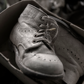 There was a time by Buffan Walter - Artistic Objects Clothing & Accessories ( shoes, old, babyshoes, forgotten, shoe, closeup, 40s, decay, abandoned, oroginalbox,  )