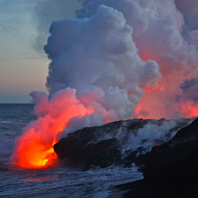 Pele's Lava flows into the Ocean at sunset by Venetia Featherstone-Witty - Nature Up Close Rock & Stone ( lava clouds, fresh lava flow, ocean entry lava, lava, lava flows at the black sand beach, lava in the waves, world_is_red, lava flowing into the ocean, pele, hawaii )