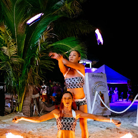 Fire Dancers by Victor Roman - People Musicians & Entertainers ( boracay, beach, fire dancers, dance, fuji xt1 )